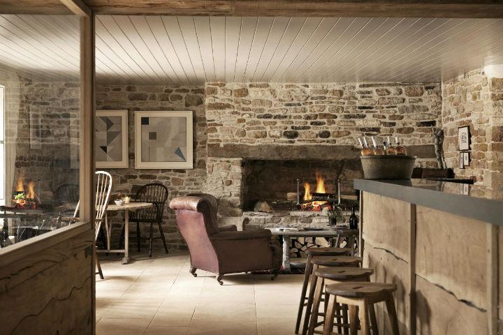 the wild rabbexpose bricks in fireplace