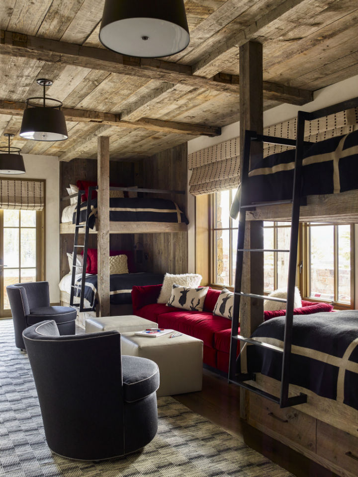 rustic chalet room with bold colors