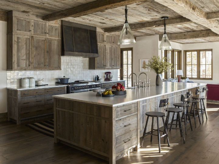 wood kitchen with cabinets