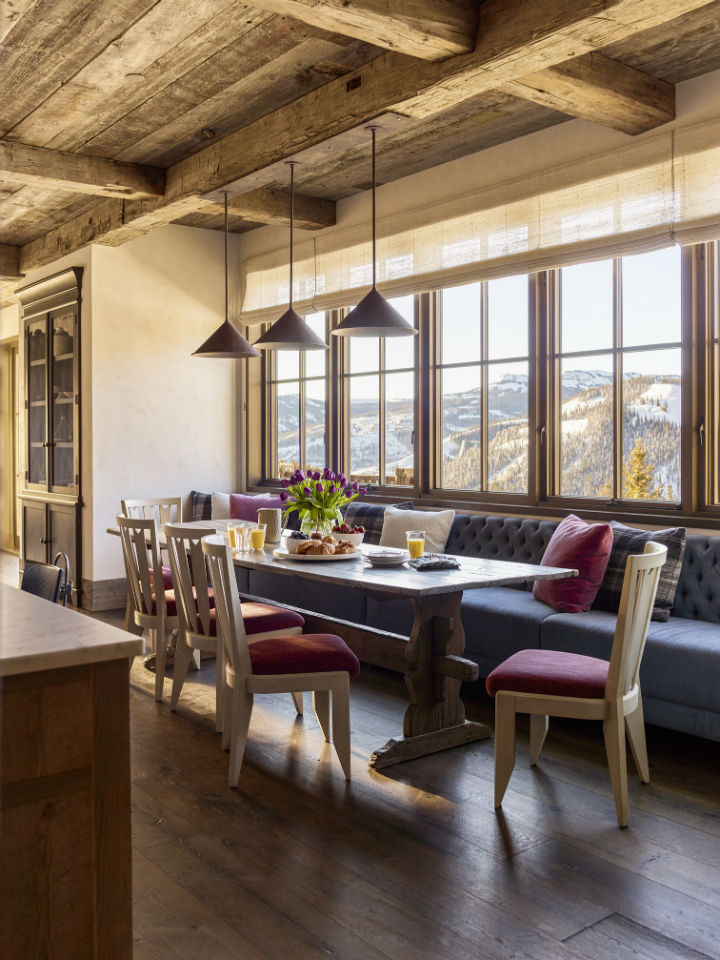 dining room area of a rustic interior