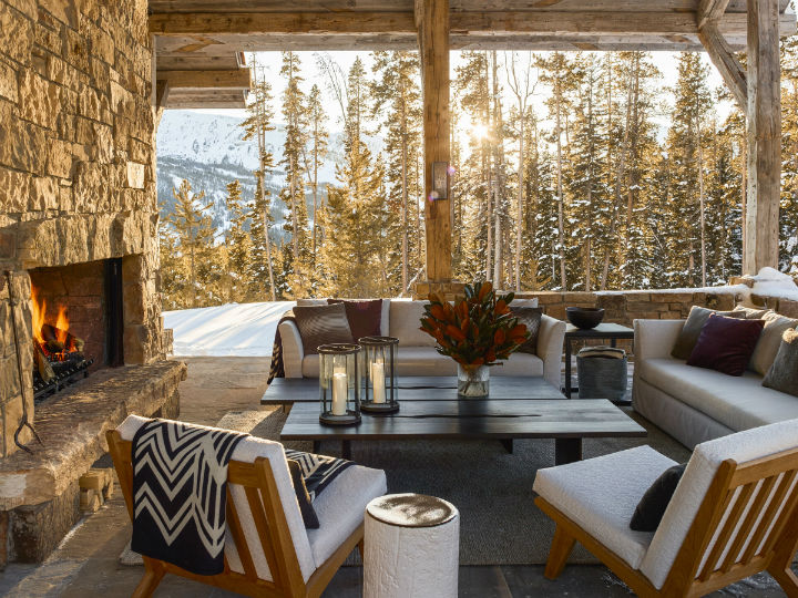 rustic interior chalet with bold colors