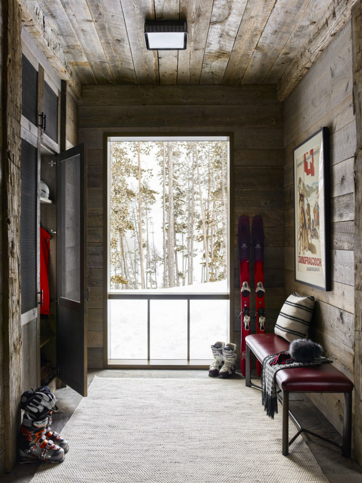 bold colors in a rustic chalet