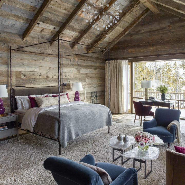 wood bedroom of rustic chalet