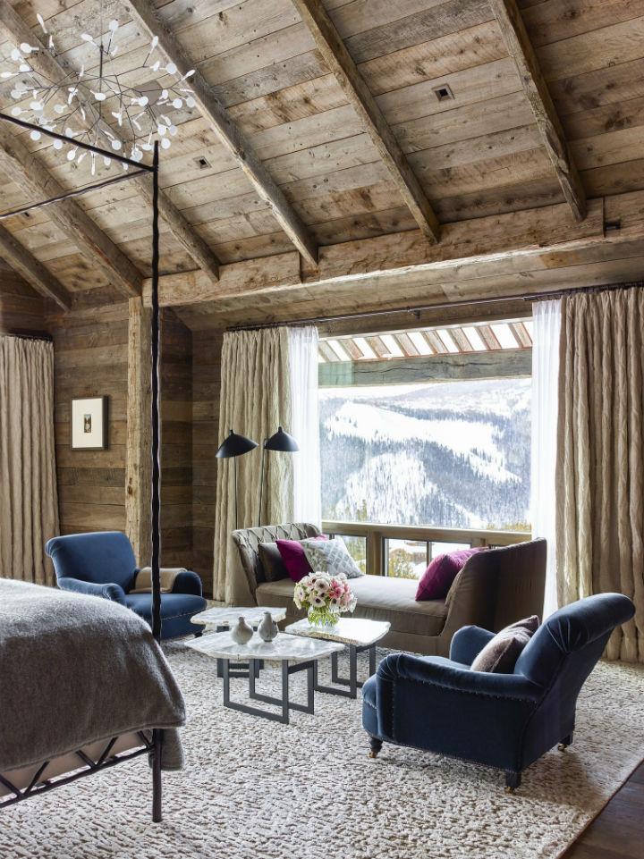 exposed beams in rustic chalet room