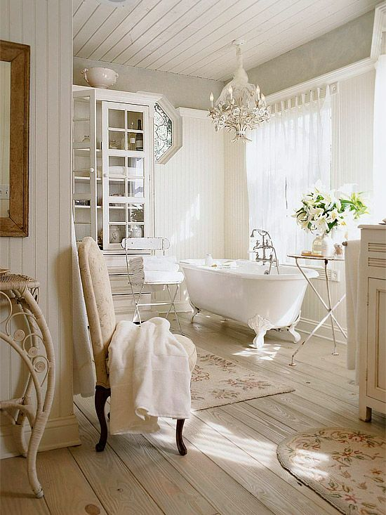 white romantic bathroom