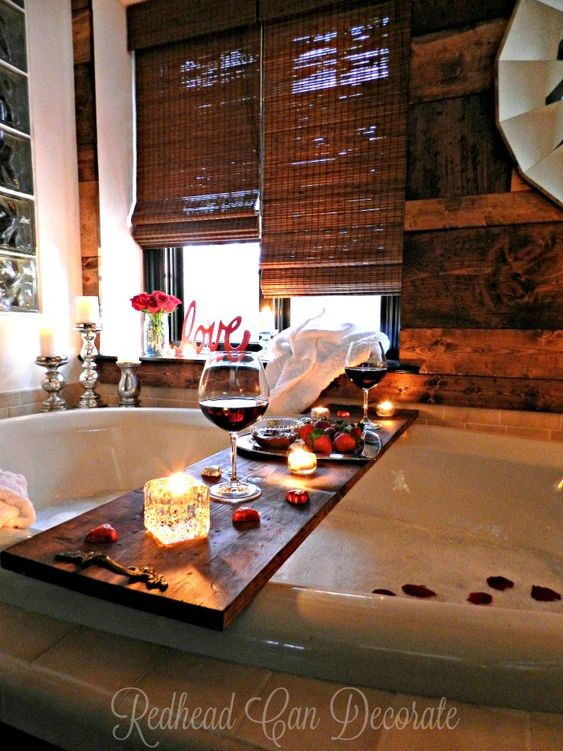wine near bathtub
