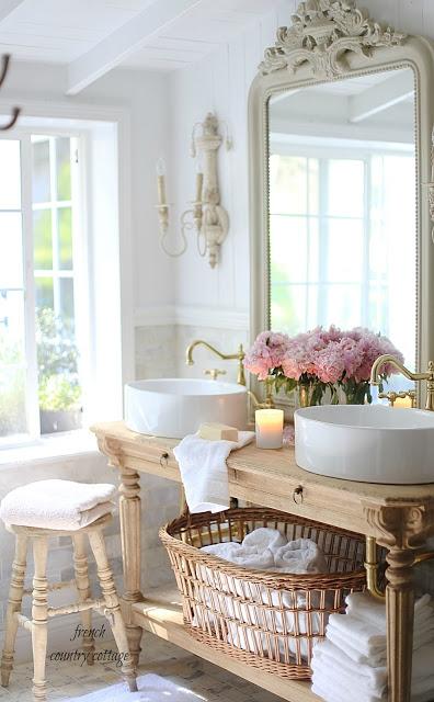 Elegant French cottage bathroom renovation