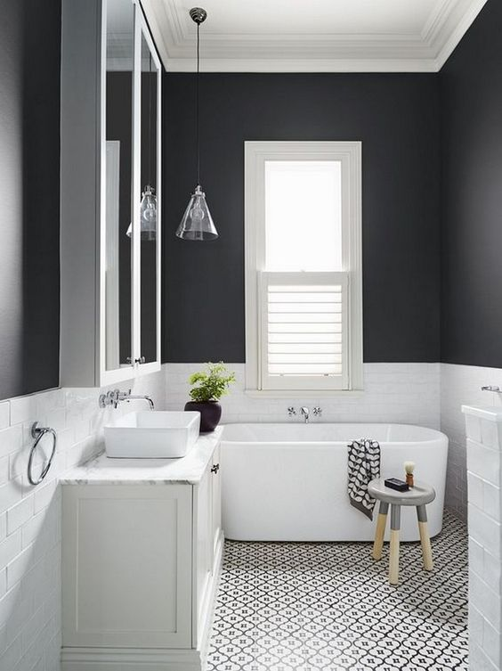 black and white small bathroom
