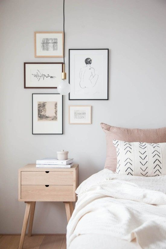 minimal frames in small bedroom