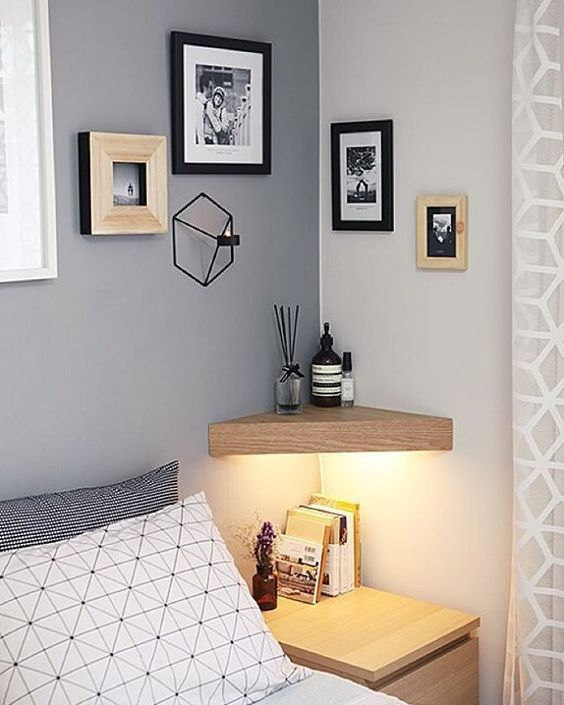 corner shelves in small bedroom