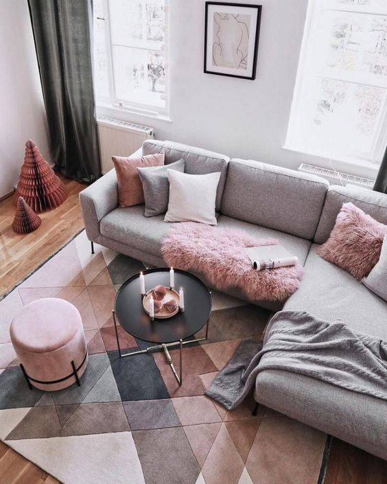 pink velvet Ottoman storage seat