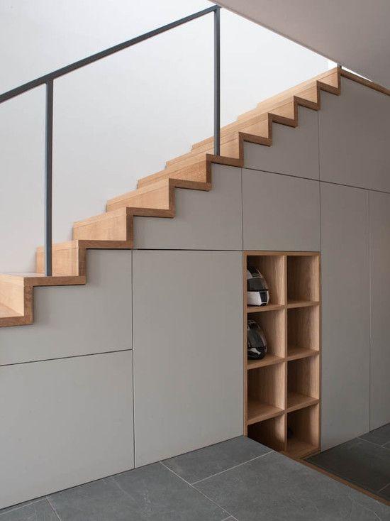 modern custom under stairs storage