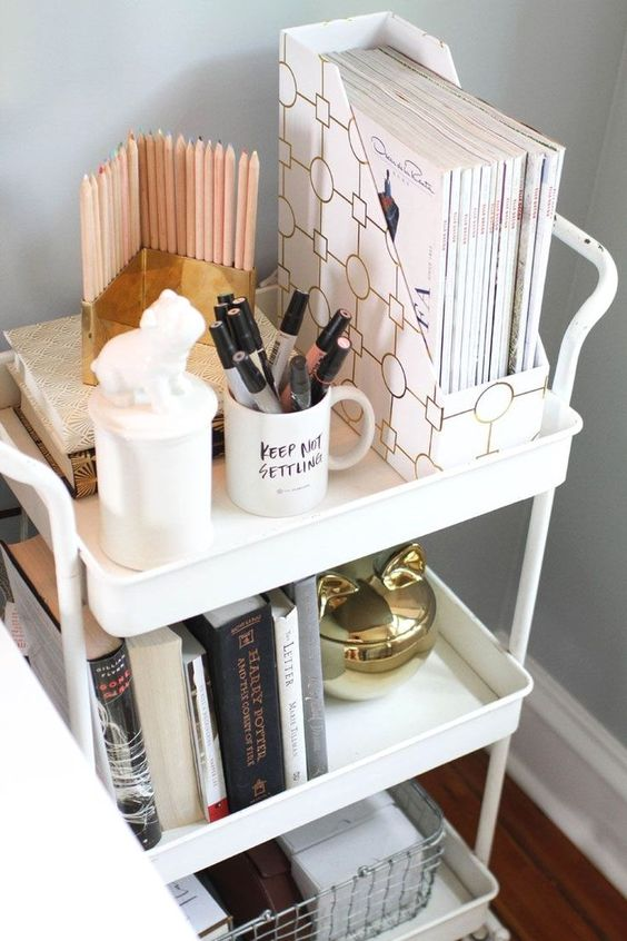 Rolling cart home office storage idea