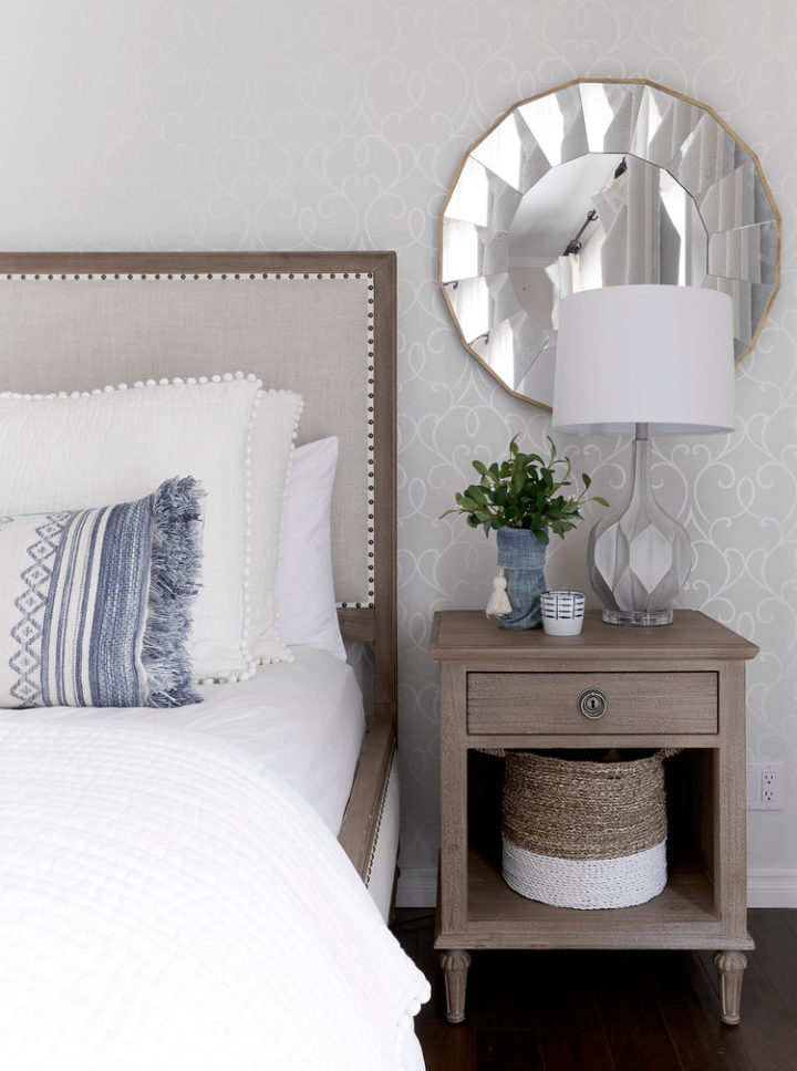 functional interior design in a white bedroom