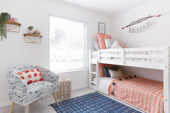 functional bedroom with bunk beds