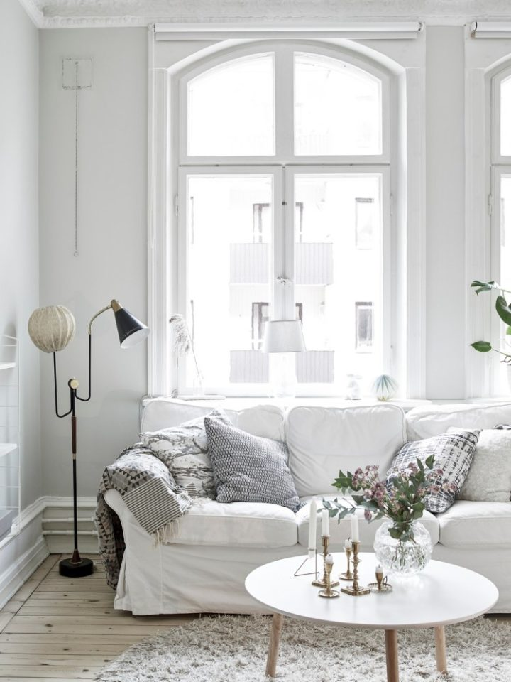 Scandinavian small white living room idea