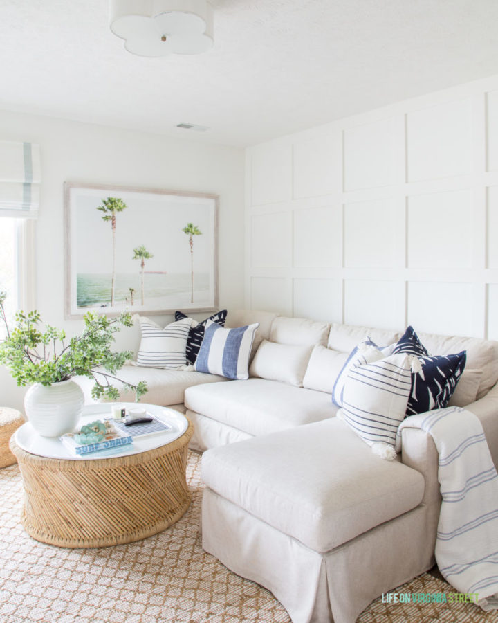 white sofa and round table