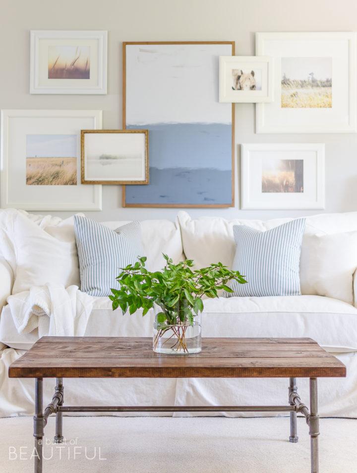 white sofa and pastel pillows