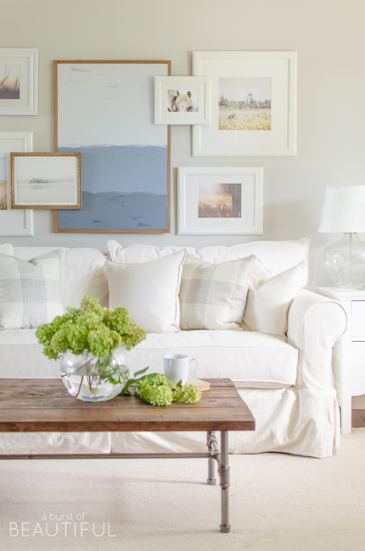 white sofa and white pillows
