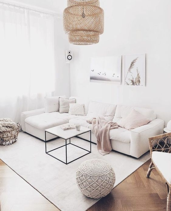 white walls and sofa