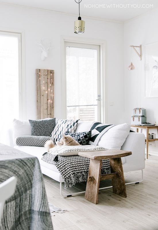 small living room with white sofa