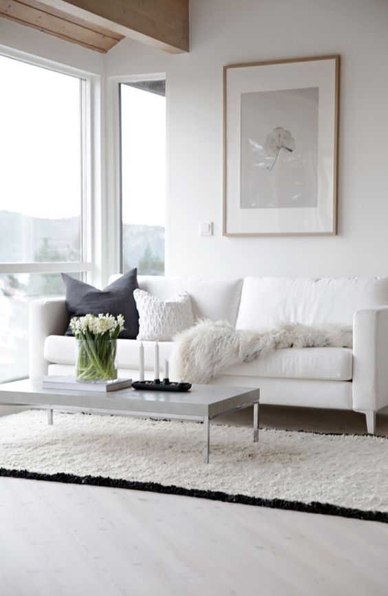 white living room with a frame