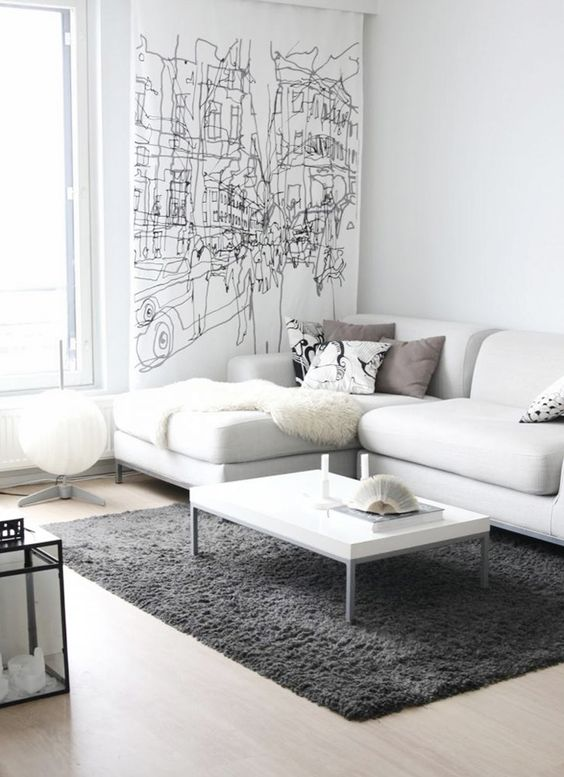 white living room with grey carpet