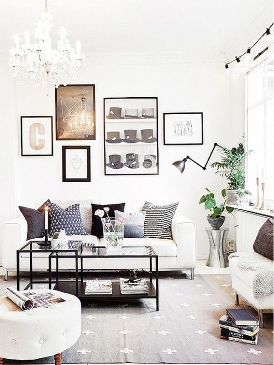 chandelier and wall art