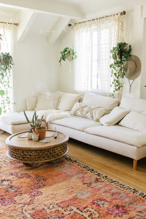 colorful carpet and white sofa