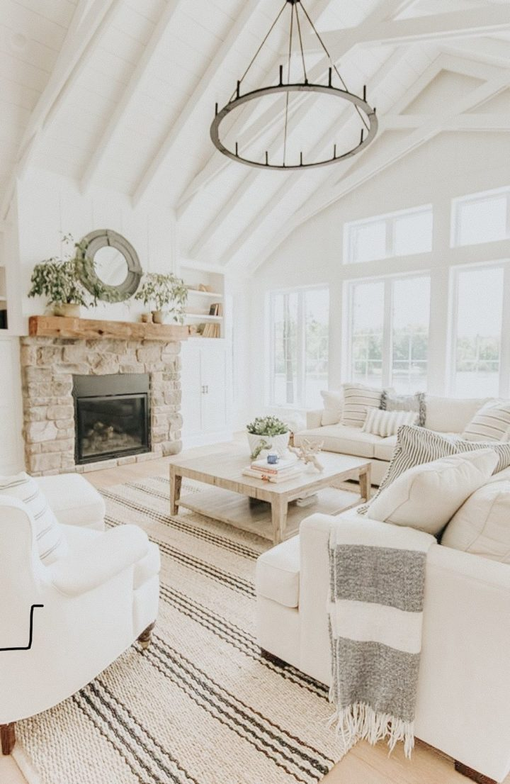 white furniture in fireplace