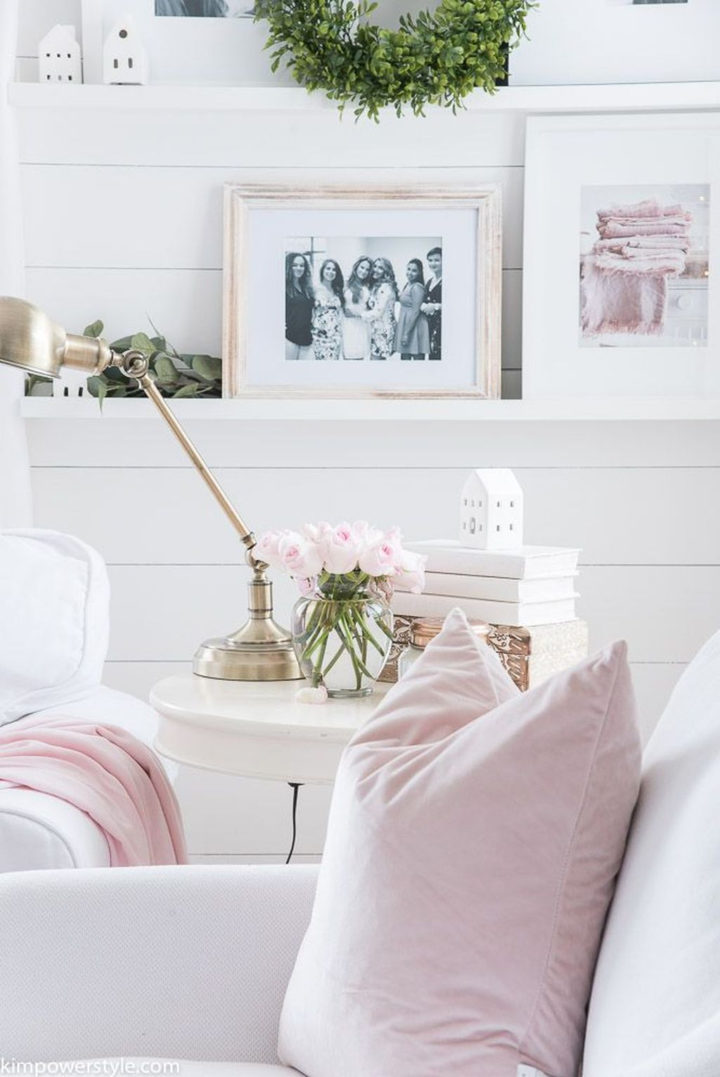white and pastel colors in living room