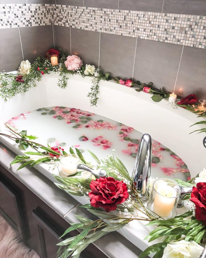 bathtub with flowers for Valentine's Day
