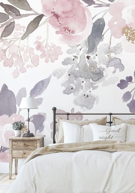 country bedroom with floral Wallpaper Watercolor pastel Botanical wallpaper