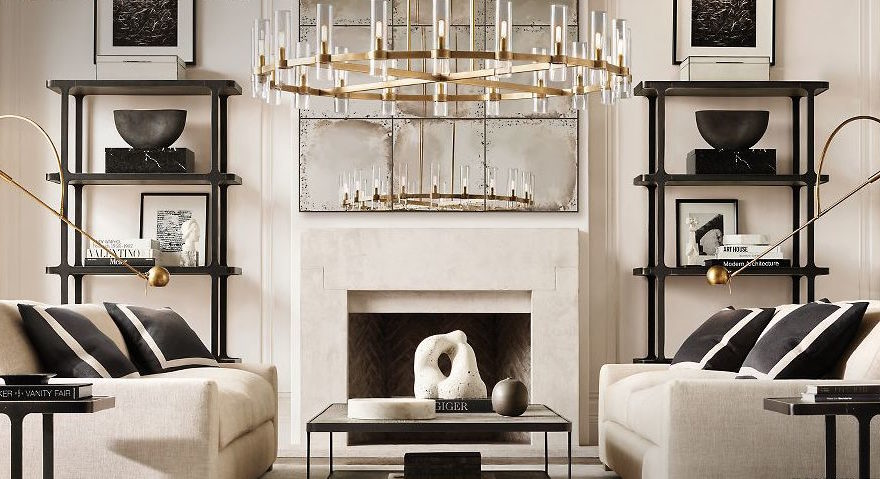 cream living room with gold chandelier