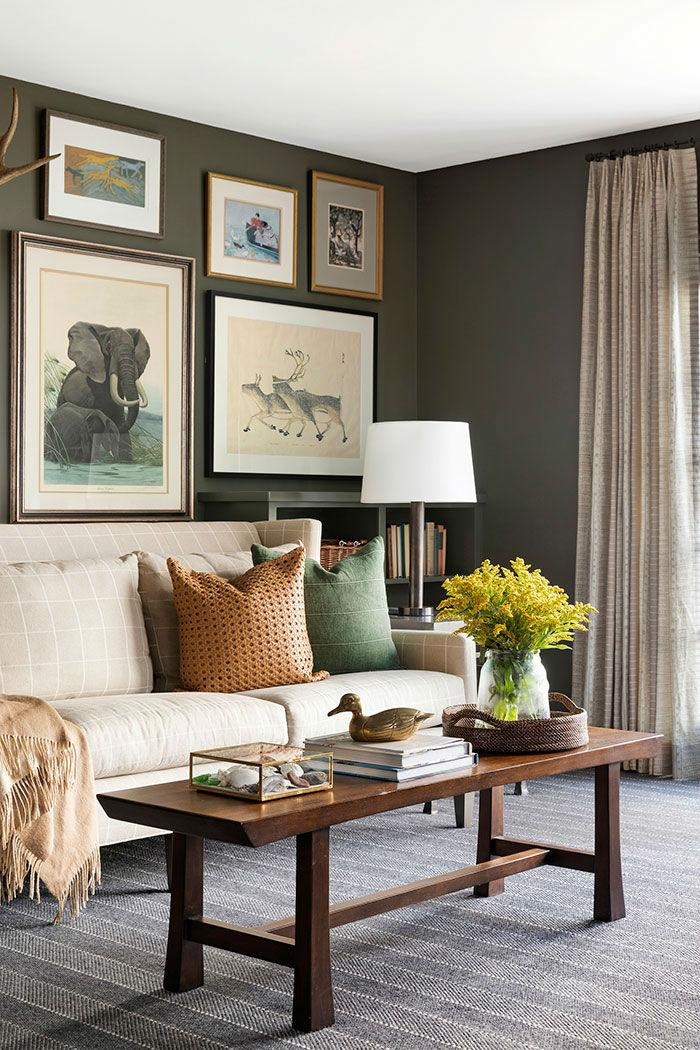 inviting interior with beige sofa