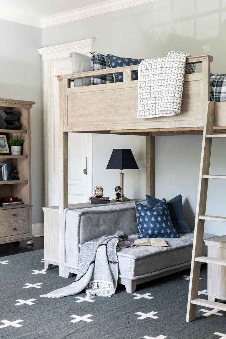 wood elements in bedroom