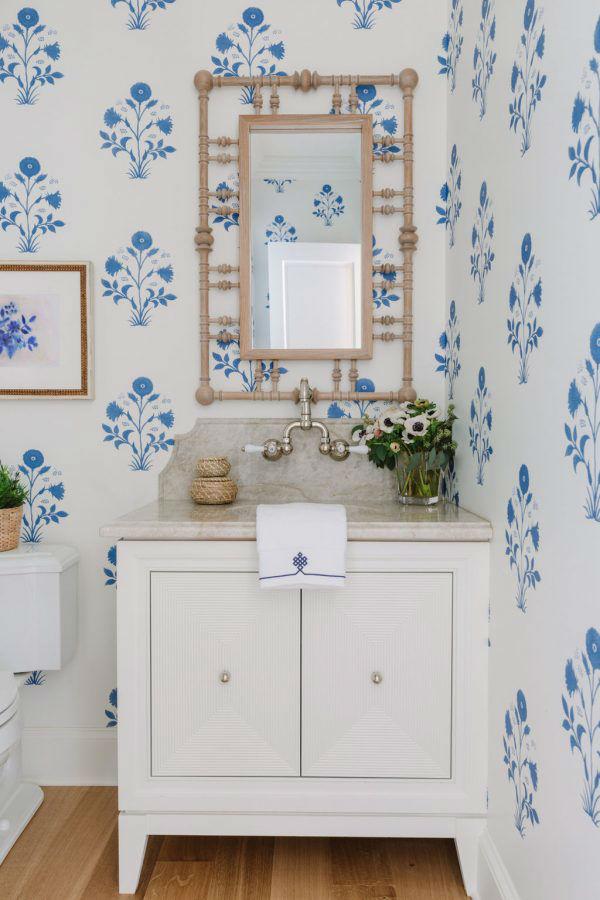 white and blue bathroom basin