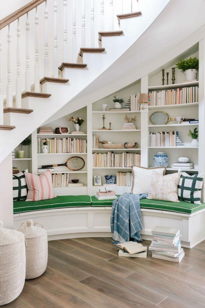 white round bookshelves and stairs