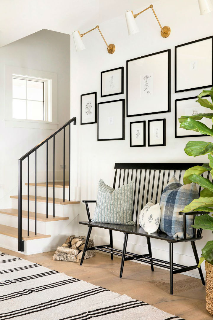 white wall with frames