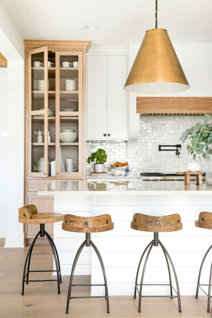 white counter and wooden details