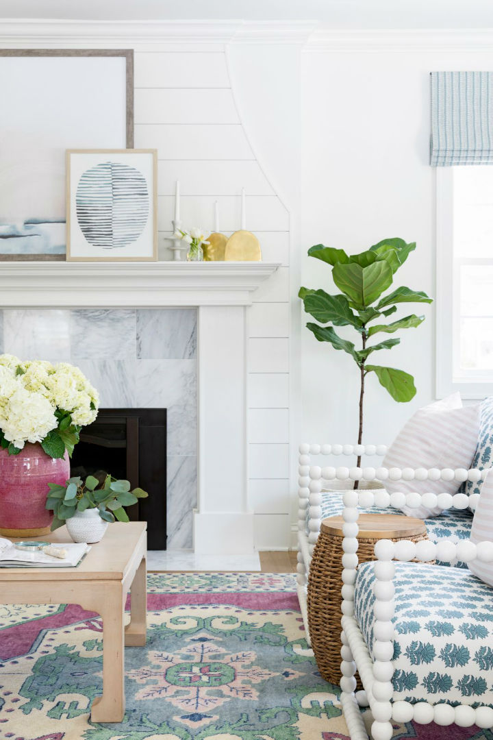 indoor plant in fireplace area