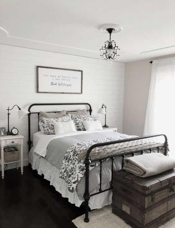 contemporary country bedroom with vintage trunk