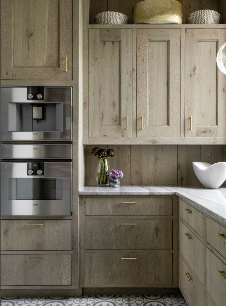 wood colored cabinets