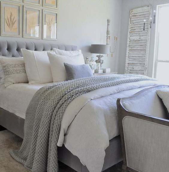 white and light grey double bed