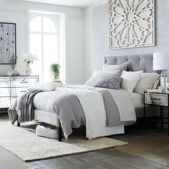 white and grey double bed