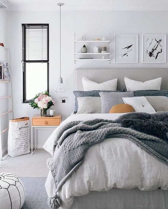 white grey and wood colors in bedroom