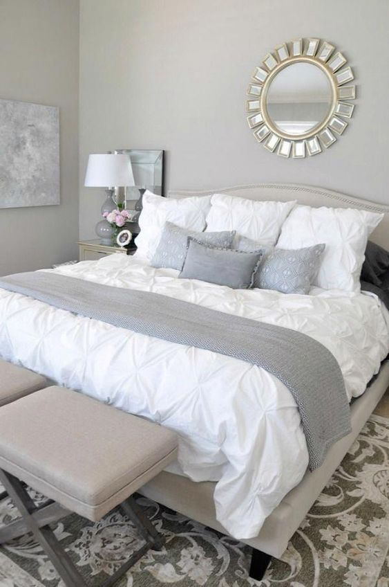gray and white bedroom details