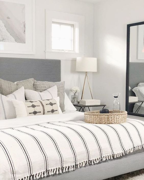 grey and white bedroom design