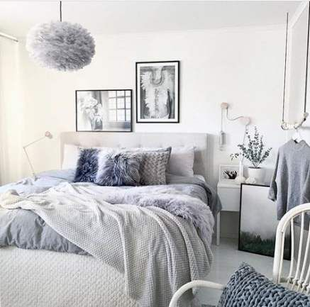 grey white and pastel colors in bedroom