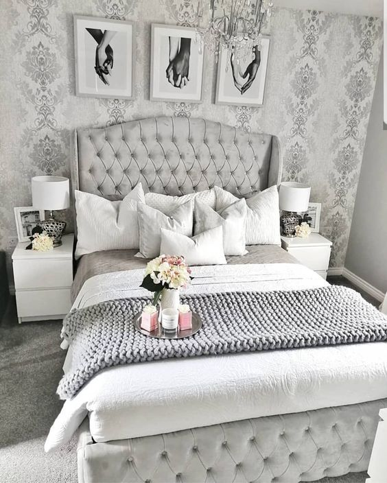 gray and white decor in bedroom